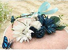 Blumen-Kranz, Stirnband-Blumen-Girlande-handgemachtes Hochzeits-Braut-Partei-Band-Stirnband Wristband Hairband Rosa / Blau ( Farbe : B )