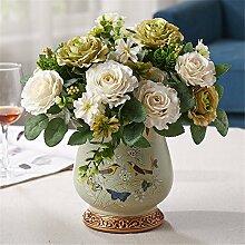 Blumen künstliche Blumen Hand-Painted Vögel-Printed Retro Keramik Vase suit Home Dekoration Seide Schmuck,Green+White