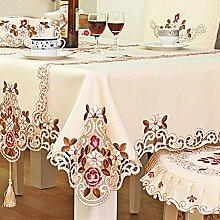 Blumen Lace Floral Printing Polyester Tischdecken Hohl Layout Design–Europäische Pastoral bestickt Tischdecke Tischdecke Haushalt Küche Tisch Dekoration, Wie abgebildet, 150cm square