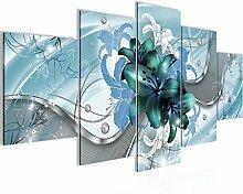 Blumen Lilien Bild Vlies Leinwandbild 5 Teilig