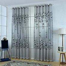 Blumen Muster Fenster Vorhänge Vorhang Panel Drapieren Balkon Büro Zimmer Wohnkultur - Grau mit Perlen, 200x250cm