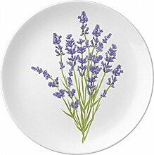 Blumen Pflanze Malerei Lavendel Deko Porzellan Dessertteller 20,3cm Abendessen Home Geschenk