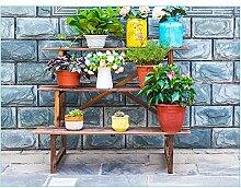 Blumen-Racks, Blumentopf-Racks, Wohnzimmer Massivholzboden Balkon Regale, grüne Rettich Fleisch mehrstöckigen Regal ( Farbe : Carbonized , größe : 140*61*76cm )