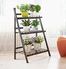 Blumen-Racks, Eisen europäischen Stil Balkon Wohnzimmer Drei Schichten Leiter Blumenregal Blumentopf Rack schwarz 50 × 40 × 93cm ( größe : 70cm )