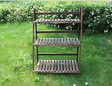 Blumen-Racks, Massivholz-Balkon Holzkohle innen Drei-Layer-Leiter Blumenregal Lange 50cm ( größe : Long 50cm )