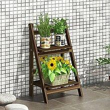 Blumen-Racks Multifunktions-Braun-Massivholz-Blumen-Regal-Innenfaltbare mehrfache Schicht-Blumen-Topf-Zahnstange (vier Größen wahlweise freigestellt) ( Farbe : B1 )