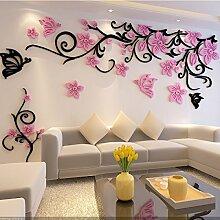 Blumen-Rebe Acryl 3d Dreidimensionale Wandaufkleber Wohnzimmer TV Hintergrund Dekoration,Pink-140*42cm