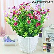 Blumen springen Ju LAN Emulation Flower Bonsai Blumentopf Set Tisch Wohnzimmer Inneneinrichtung Dekoration Daisy Flower, EIN