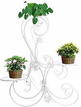 Blumen-Ständer für 3 Blumentöpfe, Metall, Garten, Weiß