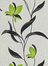 Blumen-Tapete 9730–07Blumen mit schwarzen Stielen und Blättern, Grün