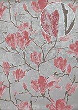 Blumen Tapete Atlas TEM-0115-5 HochwertigeVliestapete strukturiert mit grafischem Muster und Metallic Effekt silber licht-grau alt-rosa platin-grau 7,035 m2