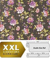 Blumen Tapete Vlies EDEM 603-94 XXL Blumentapete florales Muster mit Blättern Textilstruktur Retro braun rosa grün 10,65 qm