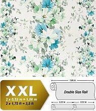 Blumen Tapete Vliestapete Landhaus Tapete EDEM 907-04 XXL Floral hochwertige Textiloptik Weiß grün türkis-blau 10,65 qm