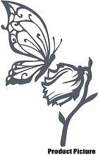 Blumen und Schmetterling, 60 cm x 40 cm, Farbe dunkelgrau, Blumenmuster, Blumen, Dekoration Kinderzimmer, Vinyl, Fenster und Auto-Aufkleber, Wand Windows-Art Aufkleber ThatVinylPlace Wandtattoo,