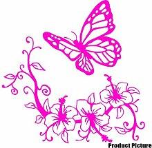 Blumen und Schmetterling, 60 cm x 60 cm), Farbe: Rosa, Blumenmuster, Blumen Childs Schlafzimmer, Dekoration, Vinyl, Fenster und Auto-Aufkleber, Wand Windows-Art Wandaufkleber, Dekoration, Vinylaufkleber ThatVinylPlace