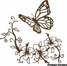 Blumen und Schmetterling, 60 x 60 cm, Farbe: Braun, Blumenmuster, Blumen, Dekoration Childs Schlafzimmer, Vinyl, Fenster und Auto-Aufkleber, Wand Windows-Art Wandaufkleber, Dekoration Vinylaufkleber ThatVinylPlace,