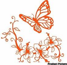 Blumen und Schmetterling, 60 x 60 cm, Farbe Orange, Blumenmuster, Blumen, Dekoration Childs Schlafzimmer, Vinyl, Fenster und Auto-Aufkleber, Wand Windows-Art Wandaufkleber, Dekoration, Vinylaufkleber ThatVinylPlace
