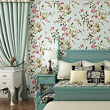 Blumen Und Vögel Tapete Schlafzimmer Schlafzimmer Wohnzimmer Wand Retro-Tapete Gelb Vlies,Blue