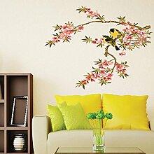 Blumen Vögel Wand Aufkleber PVC Home Aufkleber
