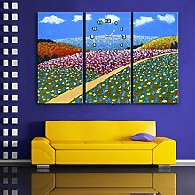 Blumen Wanduhr Rahmenlos Dekoration Retro Blumen Landschaft Leinwand gemalt Wanduhr , 30 width *60 high cm
