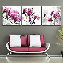 Blumen-Wanduhr Rahmenlos Wohnzimmer Restaurant Dekoration Magnolie Blühen Leinwand gemalt Wanduhr , 50*50cm