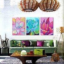 Blumen Wanduhr Rahmenlose Dekoration Blumen Malerei Leinwand gemalt Wanduhr , 50*70