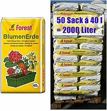 Blumenerde FOREST 50 Sack mit je 40 Liter = 2000 Liter Qualitäts Blumen- & Pflanzerde aus Bayern