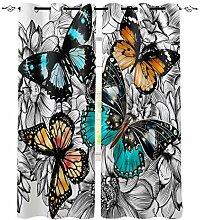 Blumenfarbe Schmetterling Fenster Innen Vorhang