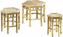 Blumenhocker im 3er Set Bambushocker Beistelltisch Blumentisch Pflanzhocker Bambus