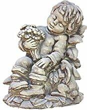 Blumenjunge Erwin mit Hase, Steingussfigur, Frostfest, Gartendeko, Natur, Junge