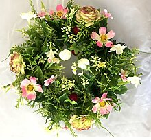 Blumenkranz Türkranz Kranz Tür Ranunkeln Jasmin pink weiß Ø30 cm Blumen Blütenkranz aus Seidenstoff zum hängen toller Hingucker für das ganze Jahr • Wandschmuck Hochzeit Kunstblumen Dekokranz