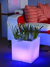 Blumenkübel Pflanzkübel Blumentopf LED Quader 38