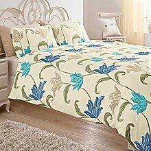 Blumenmuster Blau Grün Creme-Baumwolle Mischung