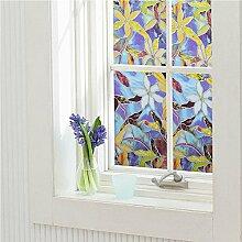Blumenmuster Fenster Film Wasserdichtes Static Cling Glas Aufkleber Fensterabziehbild Elektrostatische Fensterfolie (45 x 400cm)