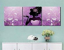 Blumenmuster,schwarzes Mädchen,lila_Wandkunst Ölgemälde Bild Druck auf Leinwand Home Dekoration,3 Panel,40x 40 CM,kein Rahmen