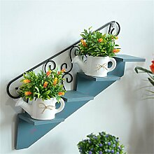 Blumenregal - American Style Retro Leben Wandbehang Regal Trapez Bekleidungsgeschäft Kaffeestube Wand Zierrahmen ( Farbe : Blau )