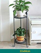 Blumenregal Bügeleisen Typ 2/3-lagig Blumentopfständer Europäische einfache Innen-und Außenbereich Pflanzen Töpfe Regal ( farbe : Schwarz , größe : 26cm*60cm )