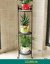 Blumenregal Bügeleisen Typ 2/3-lagig Blumentopfständer Europäische einfache Innen-und Außenbereich Pflanzen Töpfe Regal ( farbe : Schwarz , größe : 26cm*78cm )
