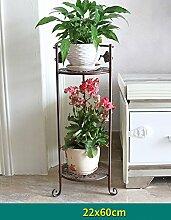 Blumenregal Bügeleisen Typ 2/3-lagig Blumentopfständer Europäische einfache Innen-und Außenbereich Pflanzen Töpfe Regal ( farbe : Messing , größe : 26cm*60cm )