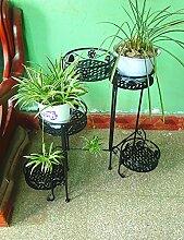 Blumenregal Bügelfußboden 5-lagiges Blumentopfgestell Europäische einfache Innen-und Außenbereich Pflanzen Bonsai Regale ( farbe : Schwarz , größe : 90cm*34cm*71cm )