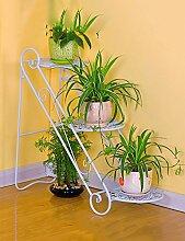 Blumenregal Eisen-Boden-Leiter 3-Schicht-Blumentopf-Rack Europäische einfache Innen-und Außenbereich Pflanzen Bonsai Regale ( farbe : Weiß , größe : 65cm*26cm*65cm )
