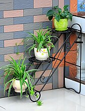 Blumenregal Eisen-Boden-Leiter 3-Schicht-Blumentopf-Rack Europäische einfache Innen-und Außenbereich Pflanzen Bonsai Regale ( farbe : Schwarz , größe : 65cm*26cm*65cm )