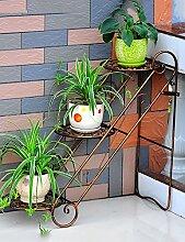 Blumenregal Eisen-Boden-Leiter 3-Schicht-Blumentopf-Rack Europäische einfache Innen-und Außenbereich Pflanzen Bonsai Regale ( farbe : Messing , größe : 65cm*26cm*65cm )