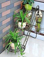 Blumenregal Eisen-Boden-Leiter 3-Schicht-Blumentopf-Rack Europäische einfache Innen-und Außenbereich Pflanzen Bonsai Regale ( farbe : Gold , größe : 65cm*26cm*65cm )