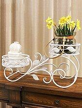 Blumenregal Eisen-Boden-Typ 2-Schicht-Blumentopf-Rack Europäische einfache Innen-und Außenbereich Pflanzen Bonsai Regale ( farbe : Weiß , größe : 54cm*27cm )