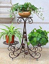 Blumenregal Iron Floor 3-lagiges Blumentopfgestell Europäische einfache Innen-und Außenbereich Pflanzen Bonsai Regale ( farbe : Messing , größe : 69cm*24cm*64cm )