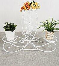 Blumenregal Iron Floor 3-lagiges Blumentopfgestell Europäische einfache Innen-und Außenbereich Pflanzen Bonsai Regale ( farbe : Weiß , größe : 87cm*25.4cm*66cm )