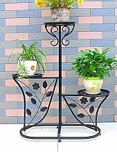 Blumenregal Iron Floor 3-lagiges Blumentopfgestell Europäische einfache Innen-und Außenbereich Pflanzen Bonsai Regale ( farbe : Schwarz , größe : 60cm*29cm*95cm )