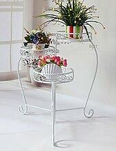 Blumenregal Iron Floor 3-lagiges Blumentopfgestell Europäische einfache Innen-und Außenbereich Pflanzen Bonsai Regale ( farbe : Weiß , größe : 29cm*29cm*60cm )
