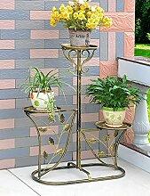 Blumenregal Iron Floor 3-lagiges Blumentopfgestell Europäische einfache Innen-und Außenbereich Pflanzen Bonsai Regale ( farbe : Gold , größe : 60cm*29cm*95cm )